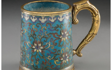 A Chinese Cloisonné and Gilt Bronze Tankard (18th century)
