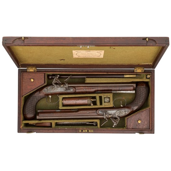 A FINE CASED PAIR OF 28 BORE FLINTLOCK DUELLING PISTOLS BY JOHN BARTON, CIRCA 1805