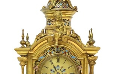 A French Louis XVI-style gilt-bronze and champlevé enamel mantel clock