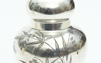 A JAMES DIXON & SONS BAMBOO DECORATED SILVER PLATED TEA CADDY, 17 CM HIGH