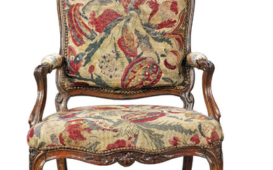 A LOUIS XV BEECHWOOD FAUTEUIL, BY FRANCOIS LESUEUR, MID-18TH CENTURY, RESTORATIONS AND REPLACEMENTS