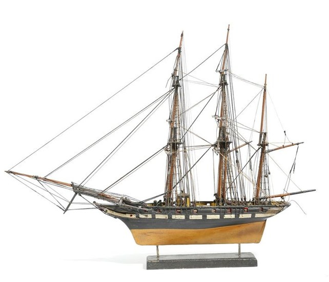 A PAINTED WOOD MODEL THREE-MASTED SAILING SHIP PROBABLY...