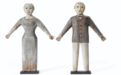 A PAIR OF CARVED AND POLYCHROME PAINT-DECORATED FIGURES OF A MAN AND A WOMAN, AMERICAN, EARLY 20TH CENTURY