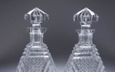 A PAIR OF CUT-GLASS DECANTERS, IN THE ART DECO TASTE