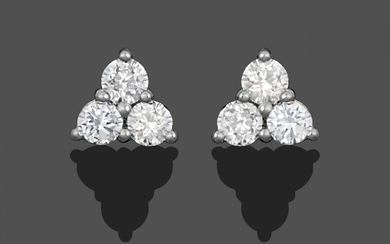 A Pair of 18 Carat White Gold Diamond Cluster Earrings,...
