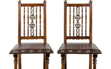 A Pair of Continental Bronze Mounted Walnut Side Chairs