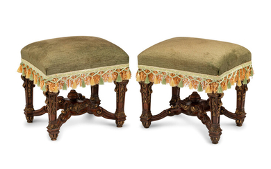 A Pair of Louis XIV Style Carved and Parcel Gilt Tabourets