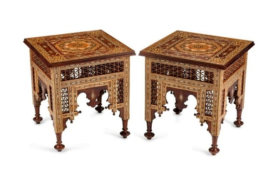 A Pair of Moorish Style Inlaid Mixed Wood Side Tables