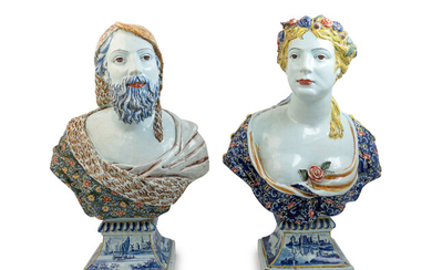 A Pair of Rouen Style Polychrome Glazed Terra Cotta Busts