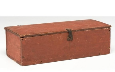 A Red-Painted Basswood Document Box