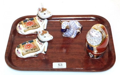 A Royal Crown Derby Imari palette Father Christmas paperweight; with...