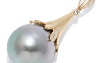 A TAHITIAN PEARL AND DIAMOND PENDANT; featuring a 14.5mm round fine cultured pearl on an 18ct gold conical surmount and bail set wit...
