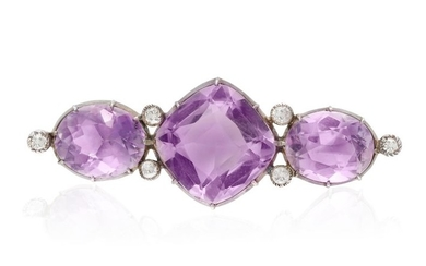 A VICTORIAN AMETHYST AND DIAMOND BROOCH, the central...