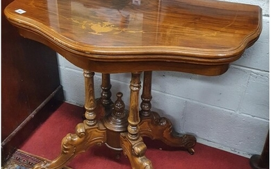 A Victorian style Walnut Inlaid Foldover Card Table. W 85 X...