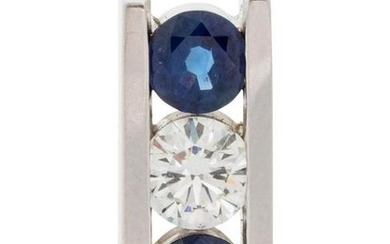 A White Gold, Diamond and Sapphire Slide Pendant,