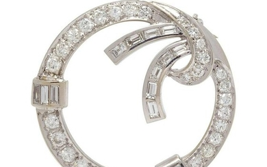 A White Gold and Diamond Circle Brooch,