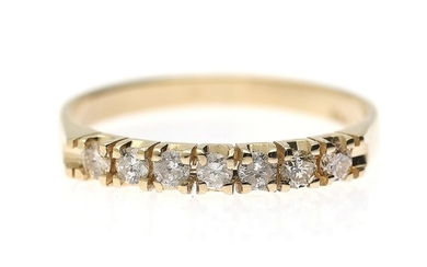 A diamond ring set with seven brilliant-cut diamonds, mounted in 14k gold. Size 54.