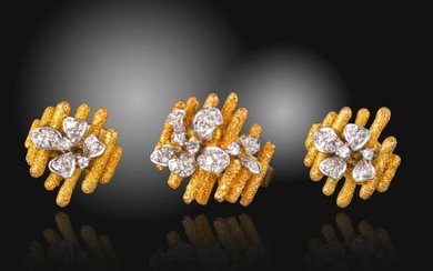 A diamond-set gold ring and earring set, of abstract design, with diamond-set flowerheads on textured gold oblongs, earrings 2cm high, post fittings, ring size N