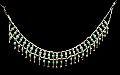 A fine 22k gold and Persian turquoise choker- Persia
