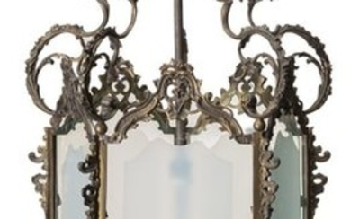 A gilt bronze and glass Rococo style hall...