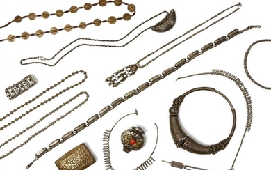 A large collection of Tibetan, Indian and African white metal...