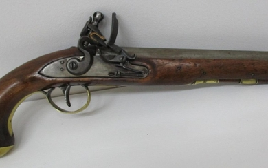 """A late 18th/early 19th century flintlock pistol, the 9"""" barr..."""