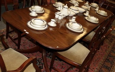 A late 19th/early 20th century mahogany twin-pedestal dining table, in...