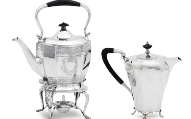 A late Victorian silver tea kettle on stand