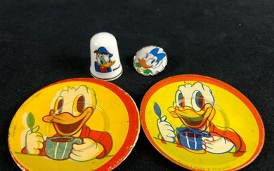 A lot of 4 Vintage Mini Donald Duck Daisy Tin Plates