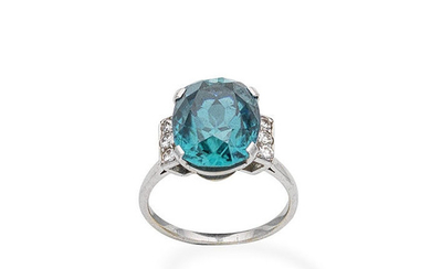 A mid 20th century zircon and diamond dress ring