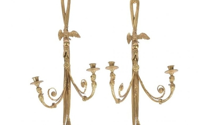 A pair of French gilt bronze twin light wall appliques in Empire taste, early 20th century