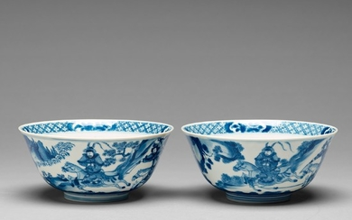 A pair of blue and white bowls, Qing dynasty, Kangxi (1662-1722).