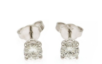 A pair of diamond ear studs each set with a brilliant-cut diamond, totalling app. 0.67 ct., mounted in 18k white gold. Top Wesselton/SI. (2)