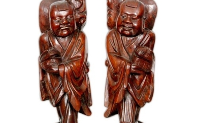 A pair of early 20th Century Japanese rootwood figural incen...