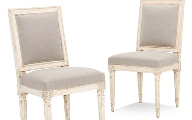A pair of painted Gustavian side chairs. Sweden, ca. 1780. (2).