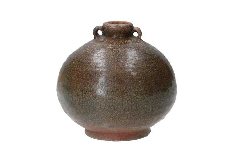 (-), A round brown glazed earthenware jar with...