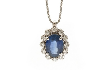 A sapphire and diamond pendant set with a sapphire encircled by numerous diamonds, mounted in 18k white gold, on an 18k white gold necklace. (2)