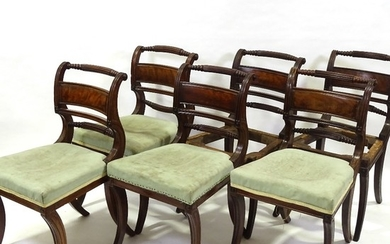 A set of 6 George III Irish mahogany dining chairs, with car...