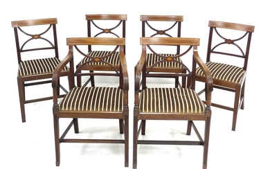 A set of six Regency style mahogany dining chairs, with cros...