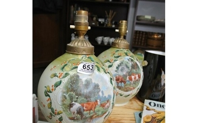 A stunning pair of antique glass table lamp bases with decor...