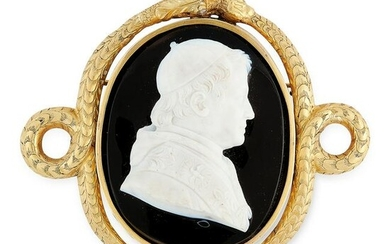 AN ANTIQUE CARVED CAMEO BROOCH, 19TH CENTURY in high