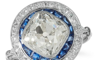 AN ART DECO DIAMOND AND SAPPHIRE TARGET RING in
