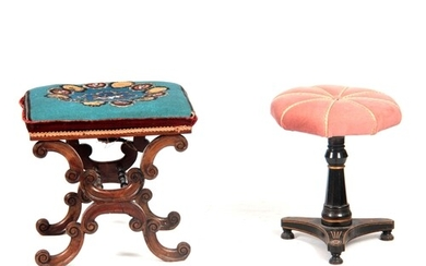 AN EARLY VICTORIAN MAHOGANY DRESSING STOOL with upholstered ...