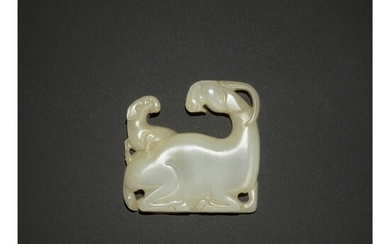 AN EXCEPTIONALLY RARE WHITE JADE 'GOAT' PLAQUE, SONG - YUAN DYNASTY