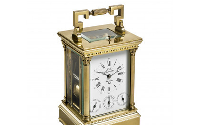 ANONYMOUS, Francia Brass and glass travel clock Late XIX/early XX...