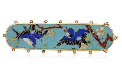 ANTIQUE ENAMEL AND GOLD BROOCH, ATTRIBUTED TO FALIZE