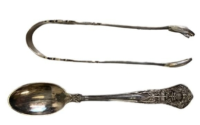 ANTIQUE STERLING SILVER SUGAR TONG AND SPOON .