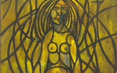 Abstract composition, surreal nude figure, oil on