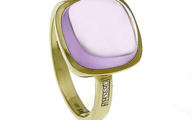 Amethyst-Brillant-Ring GG 585/000 with a square amethyst cabochon...