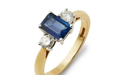 An 18ct gold sapphire and diamond three-stone ring.